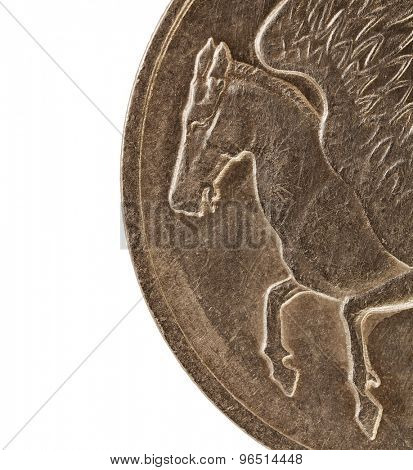 Pegasus, winged horse from Greek mythology, a detail (2 times life-size)  from ten drachmas old circulated coin (1973)