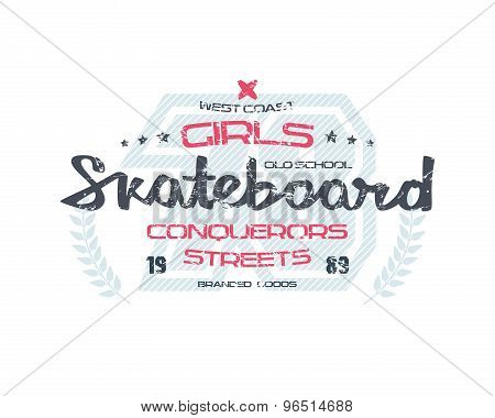 Skateboard Typographic Emblem