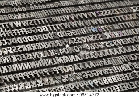 letters, numbers and punctuation symbols in old grunge metal movable typeset
