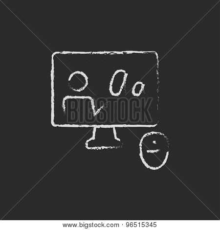 Laptop and mouse in online tutorial hand drawn in chalk on a blackboard vector white icon on a black background