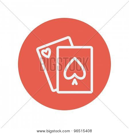 Playing cards thin line icon for web and mobile minimalistic flat design. Vector white icon inside the red circle