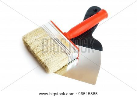 Brush And Spatula, White Background
