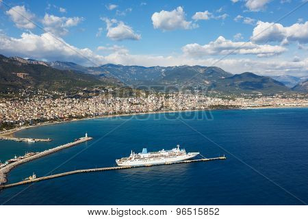 Cruise Ship In Alanya Harbor