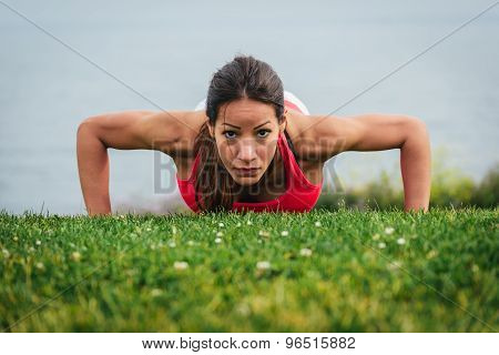 Strong Fit Woman Doing Push Ups