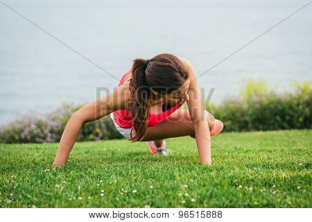 Fitness Woman Training Core Outdoor