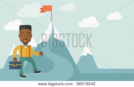 An african businessman holding his bag will climb up to top of the mountain to achieve success by holding the red flag. Willingness, leadership concept. A Contemporary style with pastel palette, soft