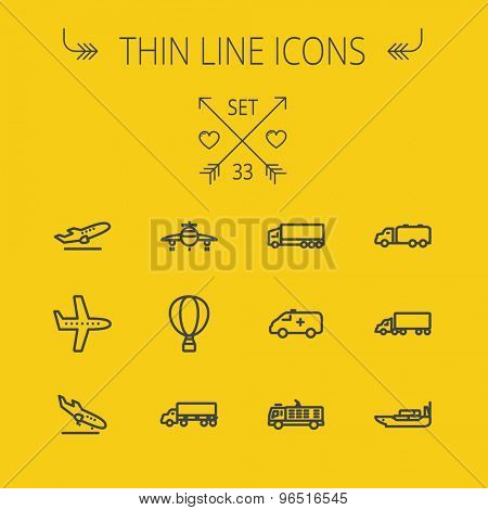 Transportation thin line icon set for web and mobile. Set includes- fire truck, trucks, plane, ships, hot air balloon icons. Modern minimalistic flat design. Vector dark grey icon on yellow background