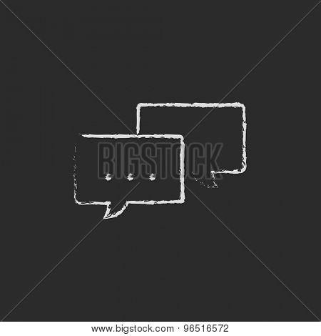 Speech square hand drawn in chalk on a blackboard vector white icon on a black background