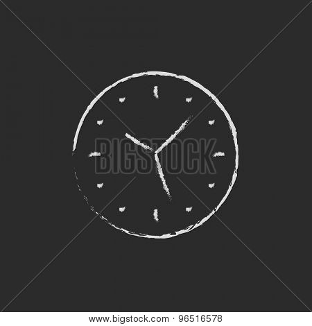 Wallclock hand drawn in chalk on a blackboard vector white icon on a black background