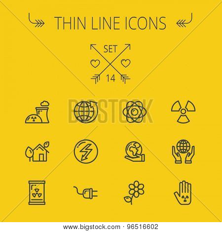 Ecology thin line icon set for web and mobile. Set includes- Palm, global, flower, propeller, atom, plug, arrow icons. Modern minimalistic flat design. Vector dark grey icon on light grey background.