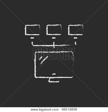 Screen with cameras hand drawn in chalk on a blackboard vector white icon on a black background