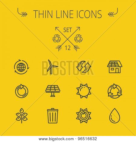 Ecology thin line icon set for web and mobile. Set includes- recycle, sun, water drop, garbage bin, windmill, leaves, global, solar panel icons. Modern minimalistic flat design. Vector dark grey icon