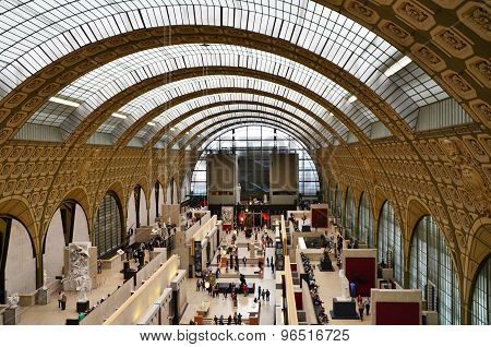 Paris, France - May 14, 2015: Visitors In The Musee D'orsay In Paris, France.