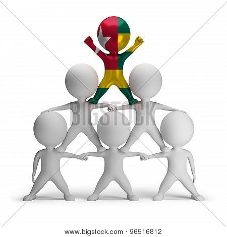 3d small people standing on each other in the form of a pyramid with the top leader Togo