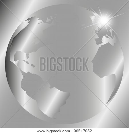 Abstract gray background with globe template