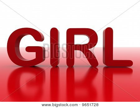 3D Letters Spelling Girl In Red