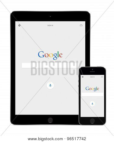 Google Search App On The Apple Ipad Air 2 And Iphone 5S Displays
