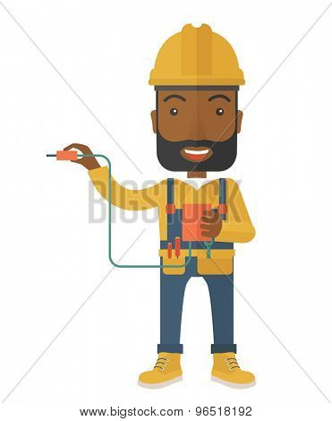 A young african electrician holding a power cable plug. A Contemporary style. Vector flat design illustration isolated white background. Vertical layout.