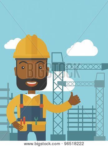 A black construction worker standing with crane tower background. A Contemporary style with pastel palette, soft blue tinted background with desaturated clouds. Vector flat design illustration
