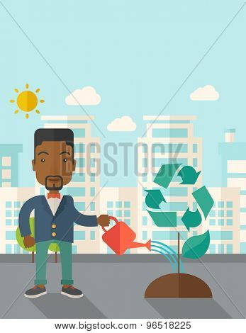 A black man watering the green recycle tree to improve the ecology under the sun. A Contemporary style with pastel palette, soft blue tinted background with desaturated clouds. Vector flat design