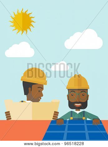 An african man putting a solar panel on the roof as a alternative energy system. A Contemporary style with pastel palette, soft beige tinted background with desaturated cloud.  Vector flat design