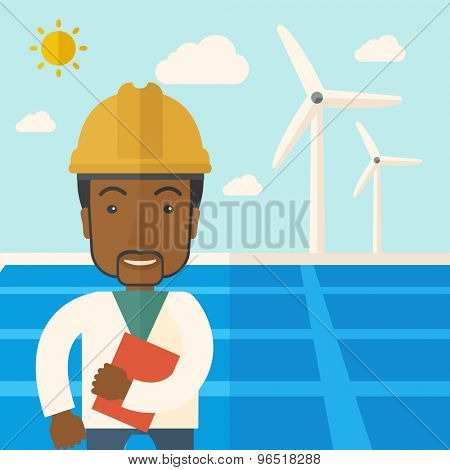 A black man wearing hardhat smiling under the heat of the sun with solar panels and windmills. A Contemporary style with pastel palette, soft blue tinted background with desaturated clouds. Vector
