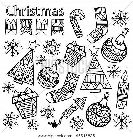 Christmas Sketch Icons Isolation Set Vector Design.