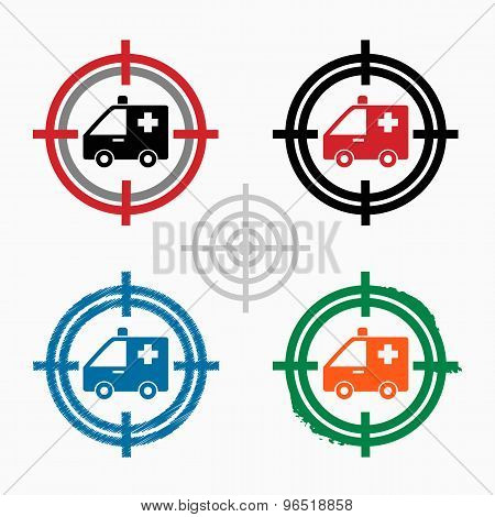 Ambulance Icon On Target Icons Background