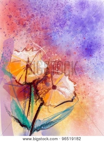 Water Color Painting Orange Gerbera Flowers