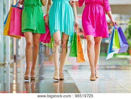 Group of glamorous shoppers walking in the mall