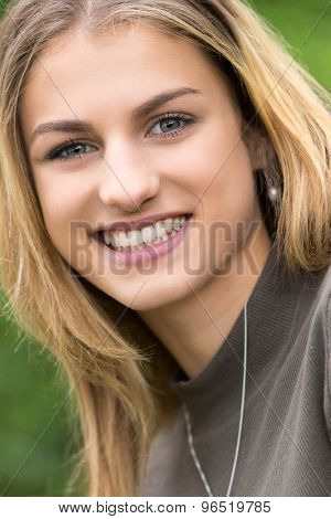 Beautiful smiling happy teen girl closeup