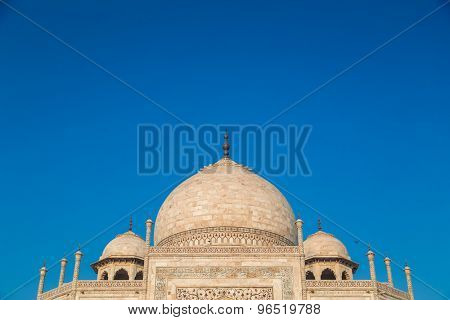 Close up view of Taj Mahal from East side. Roof part.
