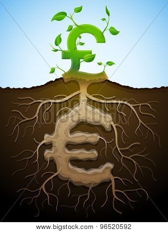 Growing Pound Sign As Plant With Leaves And Euro As Root