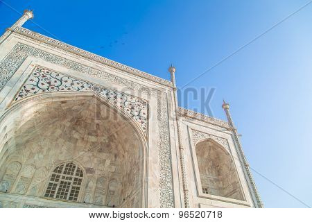 Close up detailed view of South side of Taj Mahal.