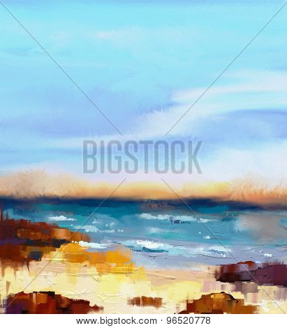 Abstract Colorful Oil Painting Seascape