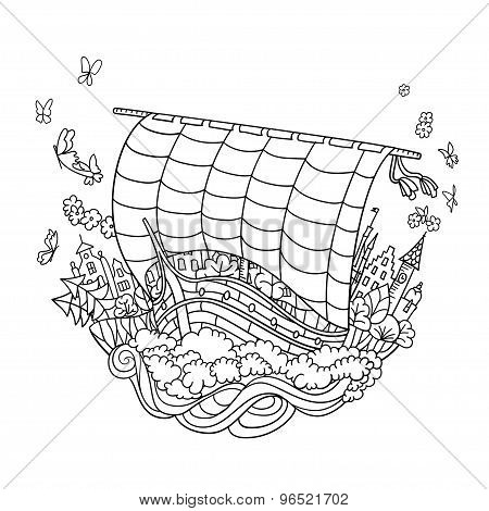 Sailing Boat on Waves in harbor vector decorative illustration, hand drawn twirl sailboat.