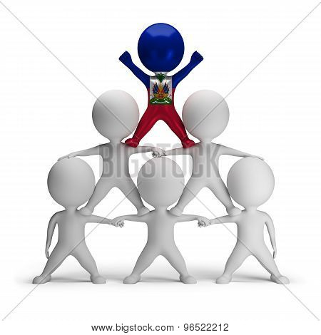 3d small people standing on each other in the form of a pyramid with the top leader Haiti