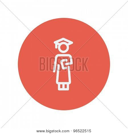 Graduation thin line icon for web and mobile minimalistic flat design. Vector white icon inside the red circle.