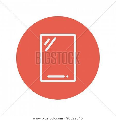 Gadget thin line icon for web and mobile minimalistic flat design. Vector white icon inside the red circle.