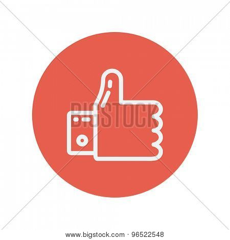 Thumbs up thin line icon for web and mobile minimalistic flat design. Vector white icon inside the red circle.