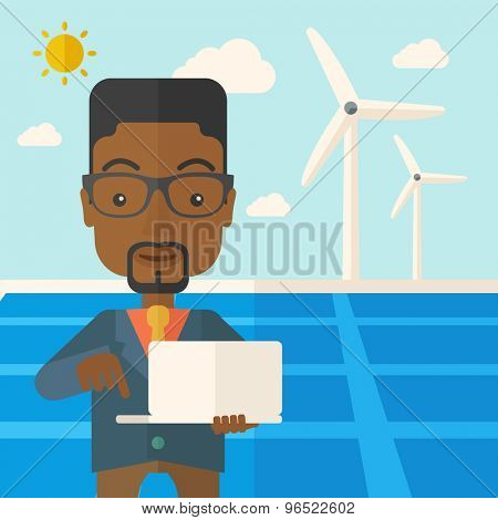An african man with laptop using the solar panel under the sun as power electricity. A Contemporary style with pastel palette, soft blue tinted background with desaturated clouds. Vector flat design