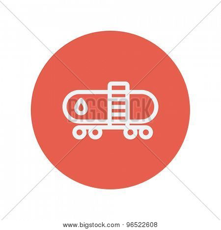 Gas and oil tank thin line icon for web and mobile minimalistic flat design. Vector white icon inside the red circle.