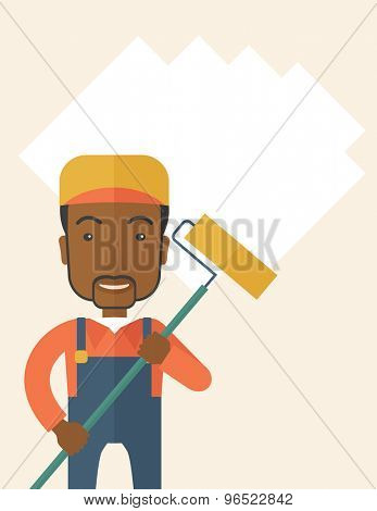A young african glass cleaner wearing hat holding stick rubber scraper. A Contemporary style. Vector flat design illustration isolated white background. Vertical layout with text space on top part.