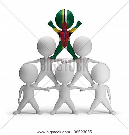 3d small people standing on each other in the form of a pyramid with the top leader Dominica