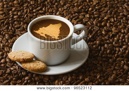 Still Life - Coffee With Map Of Nicaragua
