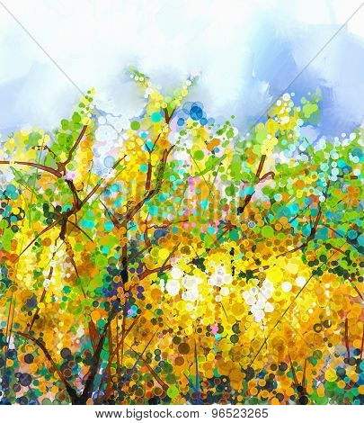 Spring Yellow Flowers Wisteria Tree.oil Painting