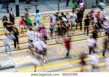 Busy pedestrian crossing in Hong Kong