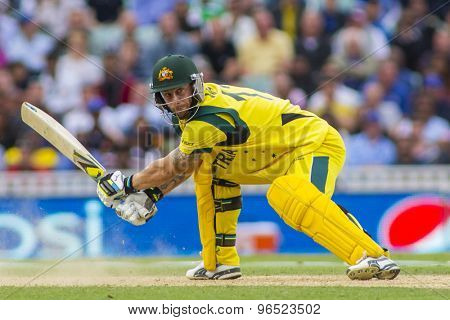 LONDON, ENGLAND - June 17 2013: Australia's Matthew Wade batting during the ICC Champions Trophy international cricket match between Sri Lanka and Australia.