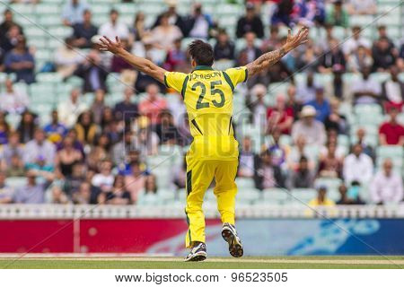 LONDON, ENGLAND - June 17 2013: Australia's Mitchell Johnson appeals during the ICC Champions Trophy international cricket match between Sri Lanka and Australia.