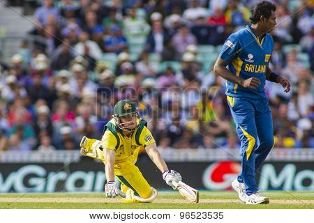 LONDON, ENGLAND - June 17 2013: Australia's Adam Voges dives to make his ground during the ICC Champions Trophy international cricket match between Sri Lanka and Australia.